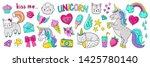 doodle unicorn stickers. pop... | Shutterstock .eps vector #1425780140