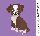 pixel graphics. happy dog.... | Shutterstock .eps vector #1425793136