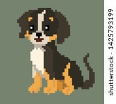 pixel graphics. happy dog.... | Shutterstock .eps vector #1425793199