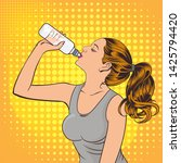 young woman drinking water .pop ...   Shutterstock .eps vector #1425794420