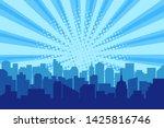 comic city silhouette with sun...