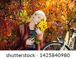 Autumn Woman In Autumn Park...