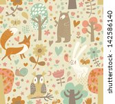 Stock vector vintage floral seamless pattern with forest animals bear fox owl rabbit vector background with 142586140