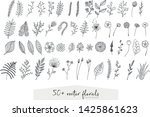 a set of 50  hand drawn floral... | Shutterstock .eps vector #1425861623
