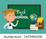 girl with blackboard and global ...   Shutterstock .eps vector #1425900200