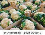 Cauliflowers In Wooden Boxes ...