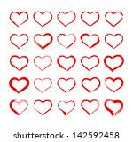 set of hand drawn heart icons | Shutterstock .eps vector #142592458