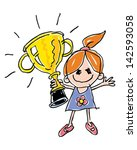 child's trophy drawing | Shutterstock .eps vector #142593058