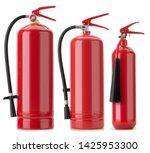 3 Fire Extinguishers Isolated...