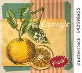 Vintage Fruit Orange Retro...