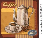 retro card design with coffee | Shutterstock .eps vector #142598710