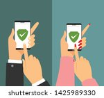 green shield on smartphone...   Shutterstock .eps vector #1425989330