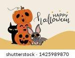 happy halloween greeting card... | Shutterstock .eps vector #1425989870
