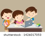 student with laptop... | Shutterstock .eps vector #1426017053