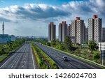Small photo of Pune, India - June 16 2019: The Mumbai-Pune Expressway during the monsoon season near Pune India. Monsoon is the annual rainy season in India from June to September.