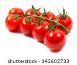 Tomatoes Cherry Branch Isolated ...
