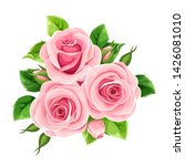 vector pink roses isolated on a ... | Shutterstock .eps vector #1426081010