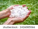 Big hails in hands after hailstorm