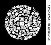 finance icons over black...   Shutterstock .eps vector #142609159
