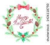 christmas wreath watercolor...   Shutterstock . vector #1426118750