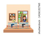 little students couple in... | Shutterstock .eps vector #1426132760