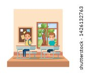 little students boys seated in... | Shutterstock .eps vector #1426132763