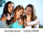summer girlfriends in sun ligt... | Shutterstock . vector #142613968