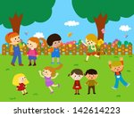 kids playing | Shutterstock .eps vector #142614223