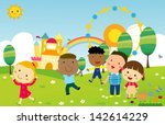 kids playing | Shutterstock .eps vector #142614229