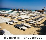 sunbeds and beach greek varosha ... | Shutterstock . vector #1426159886