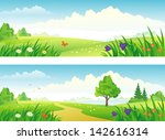 vector spring and summer... | Shutterstock .eps vector #142616314