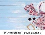 beach accessories on blue plank ... | Shutterstock . vector #1426182653