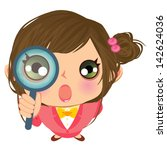 business girl searching | Shutterstock .eps vector #142624036