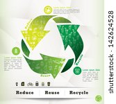 Illustration of Recycle Symbol and Eco Icons with Reduce Reuse Recycle Concept