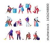 volunteers collect litter set.... | Shutterstock .eps vector #1426248800