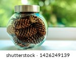 Pine Cones In A Glass Jar For...