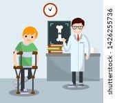 man with broken leg. patient in ... | Shutterstock .eps vector #1426255736