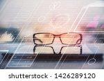 data tech hologram with glasses ...   Shutterstock . vector #1426289120