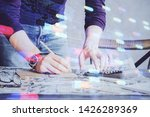 man hands with data theme...   Shutterstock . vector #1426289369