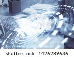 a man working on computer with...   Shutterstock . vector #1426289636