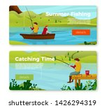 Vector Banners Set   Fisherman...
