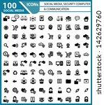 100 social media  security... | Shutterstock .eps vector #142629760