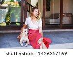beautiful caucasian woman... | Shutterstock . vector #1426357169