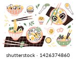 bundle of ramen in bowls and... | Shutterstock .eps vector #1426374860