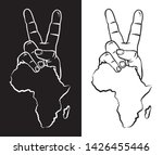 hand with two fingers up in the ... | Shutterstock .eps vector #1426455446