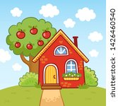 small house stands on a hill... | Shutterstock .eps vector #1426460540