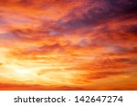 Stock photo fiery orange sunset sky beautiful sky 142647274