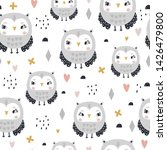 seamless pattern with cute girl ... | Shutterstock .eps vector #1426479800
