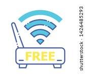 free wifi color line icon....