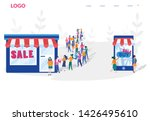 shopping vs mobile shopping.... | Shutterstock .eps vector #1426495610